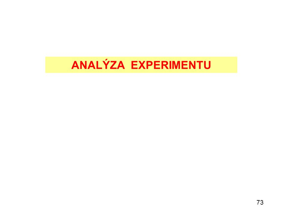73 ANALÝZA EXPERIMENTU