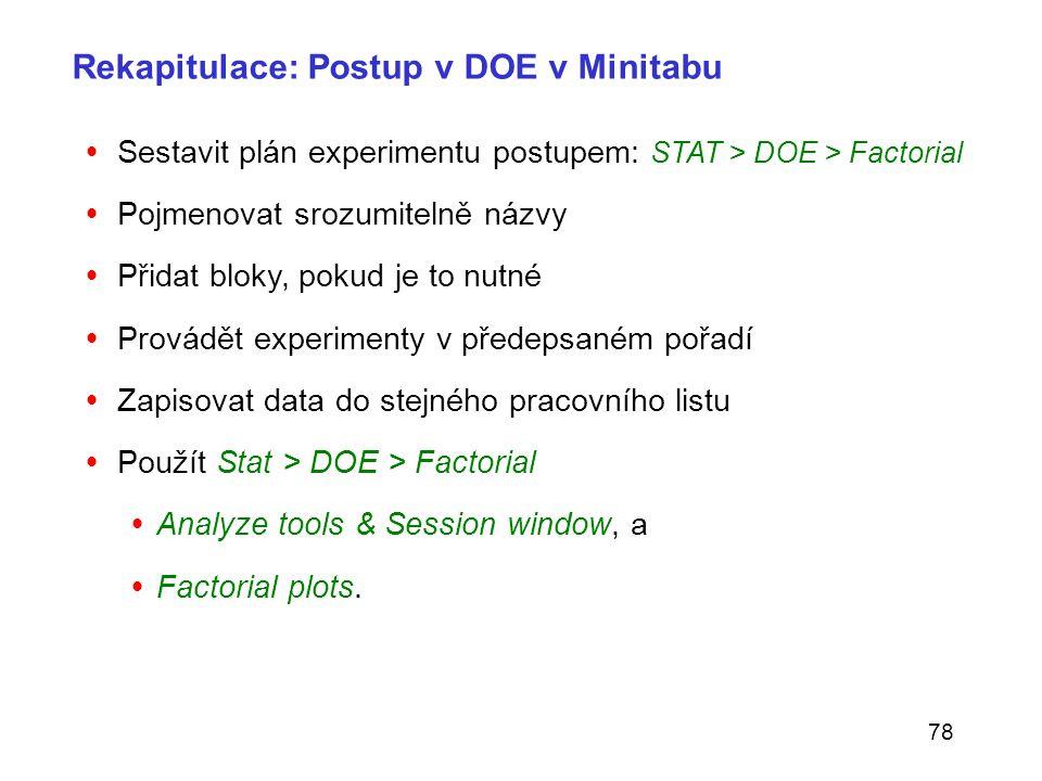 78 Rekapitulace: Postup v DOE v Minitabu  Sestavit plán experimentu postupem: STAT > DOE > Factorial  Pojmenovat srozumitelně názvy  Přidat bloky,