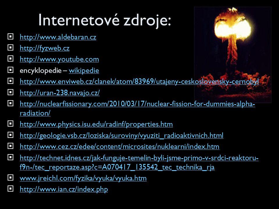 Internetové zdroje:  http://www.aldebaran.cz http://www.aldebaran.cz  http://fyzweb.cz http://fyzweb.cz  http://www.youtube.com http://www.youtube.com  encyklopedie – wikipediewikipedie  http://www.enviweb.cz/clanek/atom/83969/utajeny-ceskoslovensky-cernobyl http://www.enviweb.cz/clanek/atom/83969/utajeny-ceskoslovensky-cernobyl  http://uran-238.navajo.cz/ http://uran-238.navajo.cz/  http://nuclearfissionary.com/2010/03/17/nuclear-fission-for-dummies-alpha- radiation/ http://nuclearfissionary.com/2010/03/17/nuclear-fission-for-dummies-alpha- radiation/  http://www.physics.isu.edu/radinf/properties.htm http://www.physics.isu.edu/radinf/properties.htm  http://geologie.vsb.cz/loziska/suroviny/vyuziti_radioaktivnich.html http://geologie.vsb.cz/loziska/suroviny/vyuziti_radioaktivnich.html  http://www.cez.cz/edee/content/microsites/nuklearni/index.htm http://www.cez.cz/edee/content/microsites/nuklearni/index.htm  http://technet.idnes.cz/jak-funguje-temelin-byli-jsme-primo-v-srdci-reaktoru- f9n-/tec_reportaze.asp?c=A070417_135542_tec_technika_rja http://technet.idnes.cz/jak-funguje-temelin-byli-jsme-primo-v-srdci-reaktoru- f9n-/tec_reportaze.asp?c=A070417_135542_tec_technika_rja  www.jreichl.com/fyzika/vyuka/vyuka.htm www.jreichl.com/fyzika/vyuka/vyuka.htm  http://www.ian.cz/index.php http://www.ian.cz/index.php