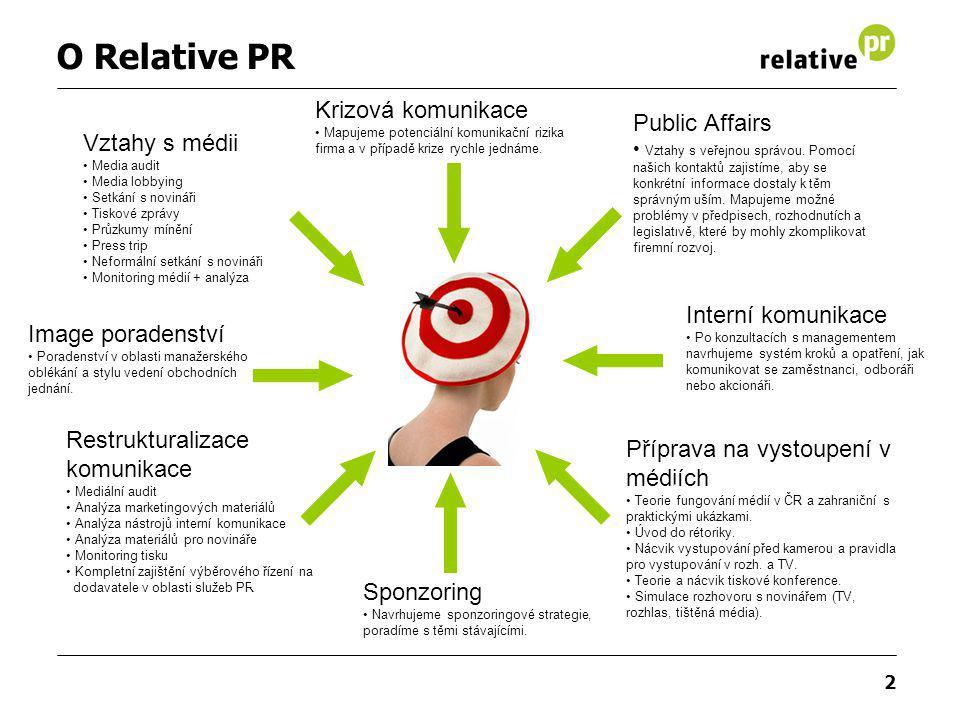 2 O Relative PR Vztahy s médii Media audit Media lobbying Setkání s novináři Tiskové zprávy Průzkumy mínění Press trip Neformální setkání s novináři M