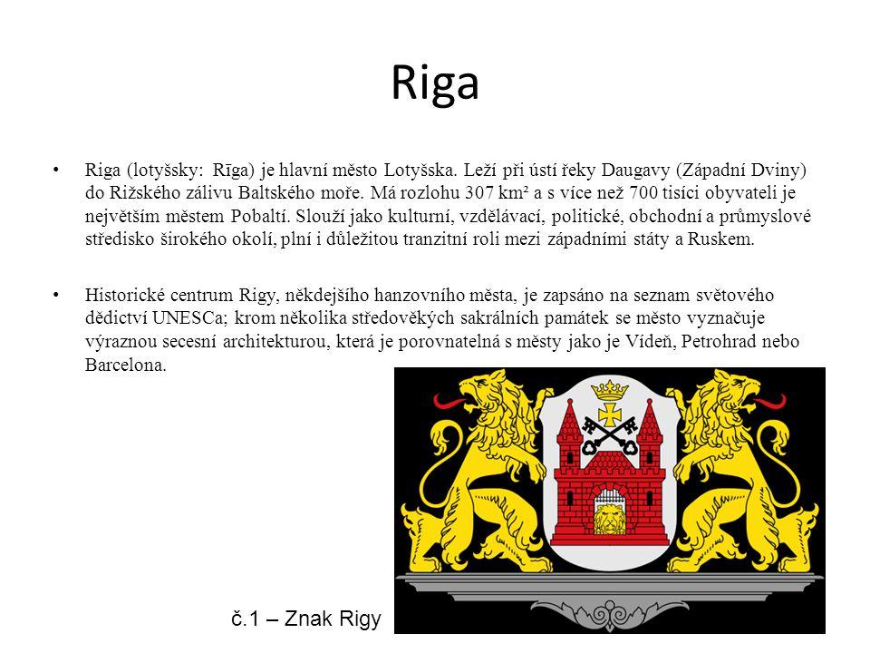 Riga Riga (lotyšsky: Rīga) je hlavní město Lotyšska. Leží při ústí řeky Daugavy (Západní Dviny) do Rižského zálivu Baltského moře. Má rozlohu 307 km²