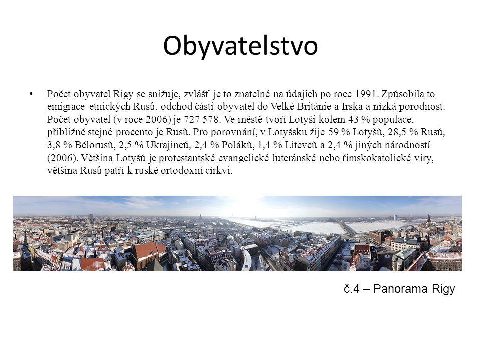 Obyvatelstvo Počet obyvatel Rigy se snižuje, zvlášť je to znatelné na údajích po roce 1991. Způsobila to emigrace etnických Rusů, odchod části obyvate