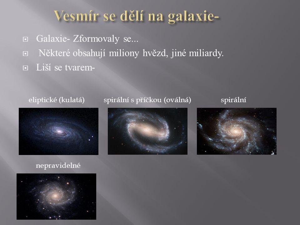  Galaxie- Zformovaly se...  Některé obsahují miliony hvězd, jiné miliardy.