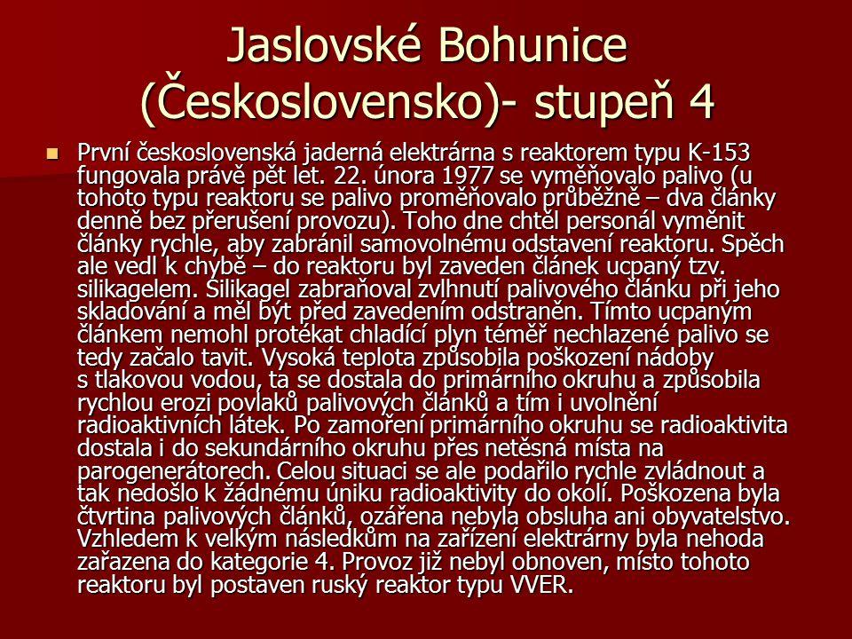 Jaslovské Bohunice (Československo)- stupeň 4 První československá jaderná elektrárna s reaktorem typu K-153 fungovala právě pět let. 22. února 1977 s