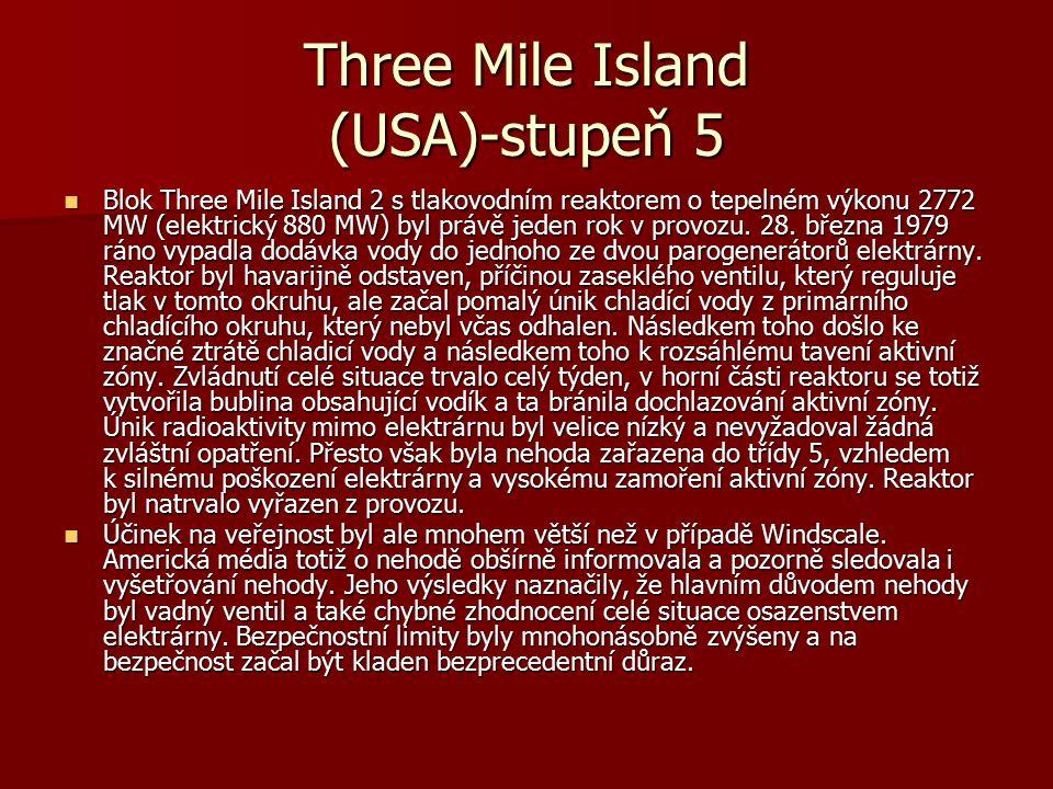 Three Mile Island (USA)-stupeň 5 Blok Three Mile Island 2 s tlakovodním reaktorem o tepelném výkonu 2772 MW (elektrický 880 MW) byl právě jeden rok v