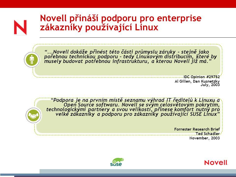 Novell přináší podporu pro enterprise zákazníky používající Linux ...Novell dokáže přinést této části průmyslu záruky – stejně jako pořebnou technickou podporu – tedy Linuxovým distribucím, které by musely budovat potřebnou infrastrukturu, a kterou Novell již má. IDC Opinion #29752 Al Gillen, Dan Kusnetzky July, 2003 Podpora je na prvním místě seznamu výhrad IT ředitelů k Linuxu a Open Source softwaru.