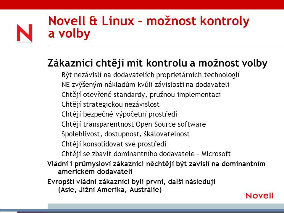 Novell & Linux – možnost kontroly a volby Zákazníci chtějí mít kontrolu a možnost volby Být nezávislí na dodavatelích proprietárních technologií NE zvýšeným nákladům kvůli závislosti na dodavateli Chtějí otevřené standardy, pružnou implementaci Chtějí strategickou nezávislost Chtějí bezpečné výpočetní prostředí Chtějí transparentnost Open Source software Spolehlivost, dostupnost, škálovatelnost Chtějí konsolidovat své prostředí Chtějí se zbavit dominantního dodavatele – Microsoft Vládní i průmysloví zákazníci něchtějí být zavislí na dominantním americkém dodavateli Evropští vládní zákazníci byli první, další následují (Asie, Jižní Amerika, Austrálie)