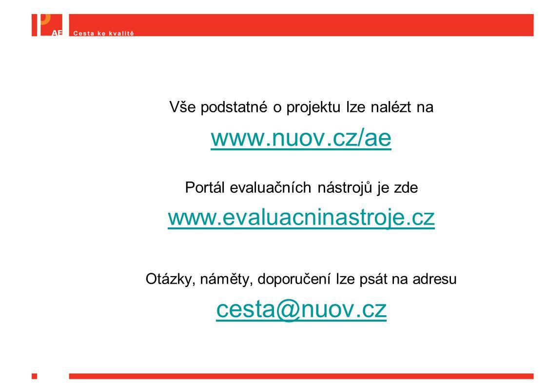 Vše podstatné o projektu lze nalézt na www.nuov.cz/ae Portál evaluačních nástrojů je zde www.evaluacninastroje.cz Otázky, náměty, doporučení lze psát na adresu cesta@nuov.cz