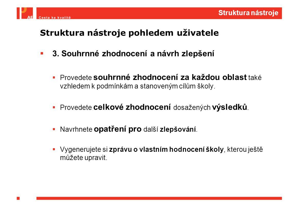 Struktura nástroje Struktura nástroje pohledem uživatele  3. Souhrnné zhodnocení a návrh zlepšení  Provedete souhrnné zhodnocení za každou oblast ta