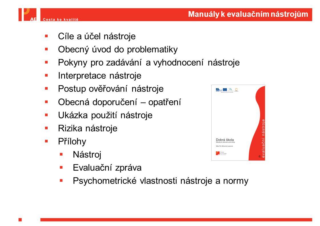 Manuály k evaluačním nástrojům  Cíle a účel nástroje  Obecný úvod do problematiky  Pokyny pro zadávání a vyhodnocení nástroje  Interpretace nástroje  Postup ověřování nástroje  Obecná doporučení – opatření  Ukázka použití nástroje  Rizika nástroje  Přílohy  Nástroj  Evaluační zpráva  Psychometrické vlastnosti nástroje a normy