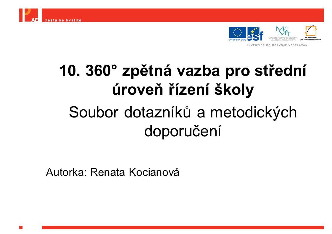 10. 360° zpětná vazba pro střední úroveň řízení školy Soubor dotazníků a metodických doporučení Autorka: Renata Kocianová