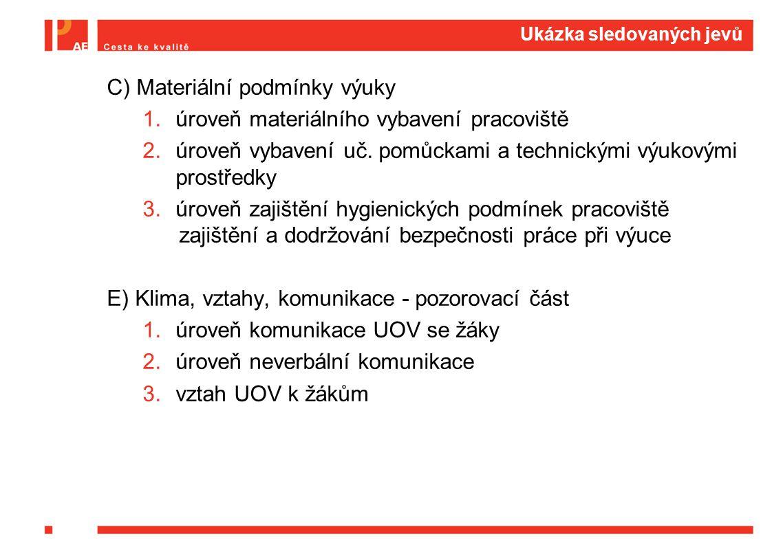 Ukázka sledovaných jevů C) Materiální podmínky výuky 1.úroveň materiálního vybavení pracoviště 2.úroveň vybavení uč. pomůckami a technickými výukovými