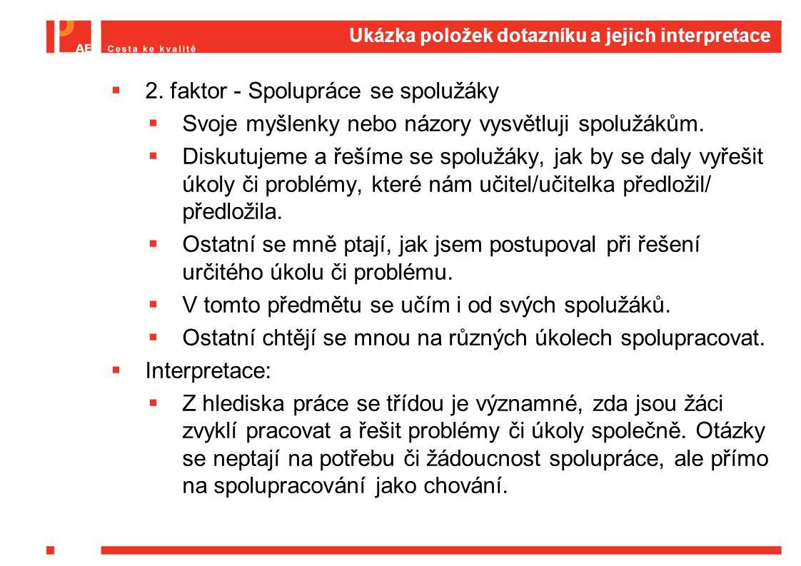 Ukázka položek dotazníku a jejich interpretace  2. faktor - Spolupráce se spolužáky  Svoje myšlenky nebo názory vysvětluji spolužákům.  Diskutujeme