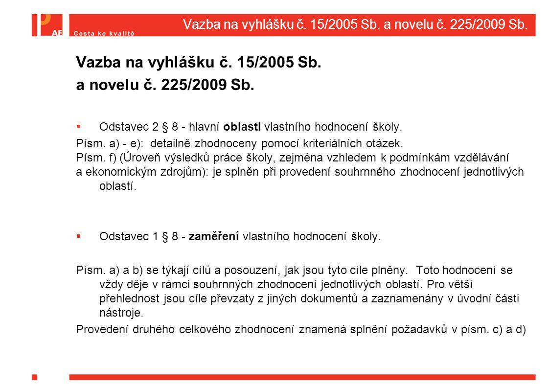 Vazba na vyhlášku č. 15/2005 Sb. a novelu č. 225/2009 Sb. Vazba na vyhlášku č. 15/2005 Sb. a novelu č. 225/2009 Sb.  Odstavec 2 § 8 - hlavní oblasti