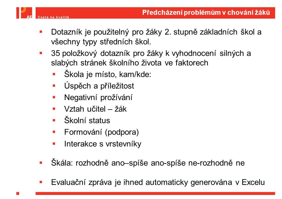 Předcházení problémům v chování žáků  Dotazník je použitelný pro žáky 2.