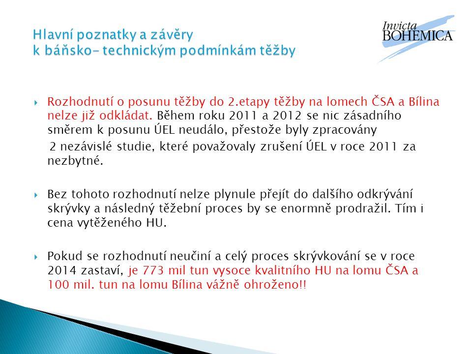  Rozhodnutí o posunu těžby do 2.etapy těžby na lomech ČSA a Bílina nelze již odkládat.