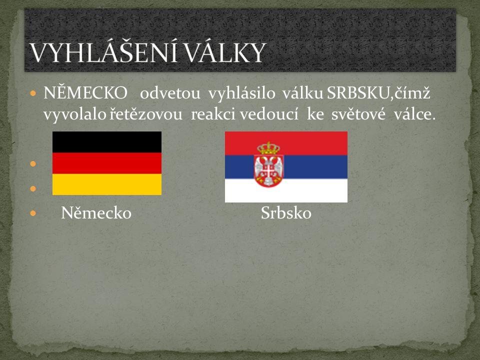 NĚMECKO odvetou vyhlásilo válku SRBSKU,čímž vyvolalo řetězovou reakci vedoucí ke světové válce. Německo Srbsko