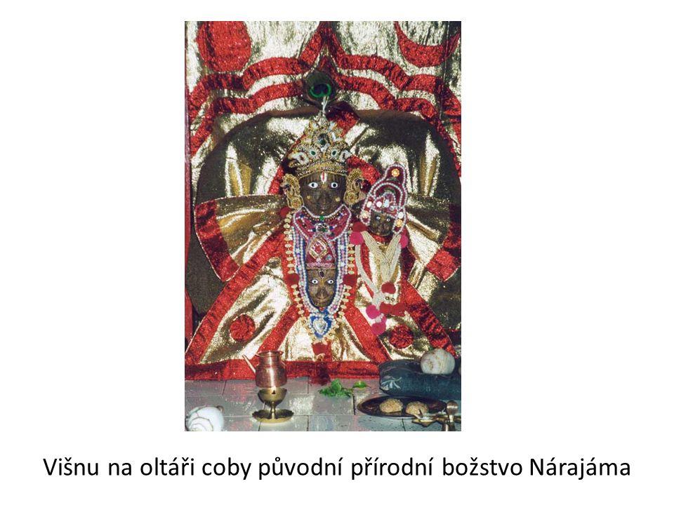 Višnu na oltáři coby původní přírodní božstvo Nárajáma