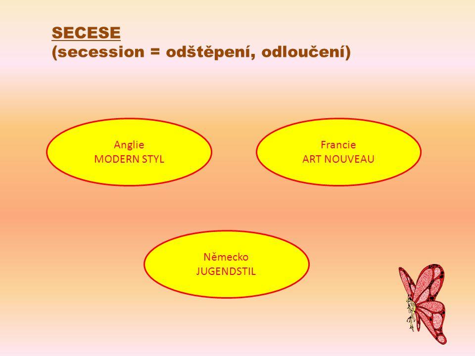 (secession = odštěpení, odloučení) Anglie MODERN STYL Německo JUGENDSTIL Francie ART NOUVEAU