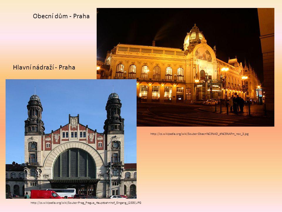 http://cs.wikipedia.org/wiki/Soubor:Prag_Prague_Hauptbahnhof_Eingang_(2005).JPG Hlavní nádraží - Praha http://cs.wikipedia.org/wiki/Soubor:Obecn%C3%AD