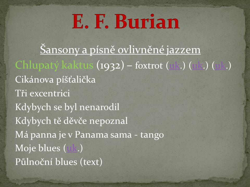1927 - založil vlastní hudebně recitační soubor Voice band - sbor, který rytmicky recitoval poezii ( prvky jazzu přenesl do rytmického pojetí, podloženého pro větší zvukovou barevnost bicími nástroji nebo klavírem ) 1933 - založil vlastní divadelní scénu D 34 (-41) 1941 - divadlo pro svůj protifašistický charakter zavřeno a Burian vězněn v koncentračních táborech do roku 1945 po 1945 - obnovil své divadlo D 46