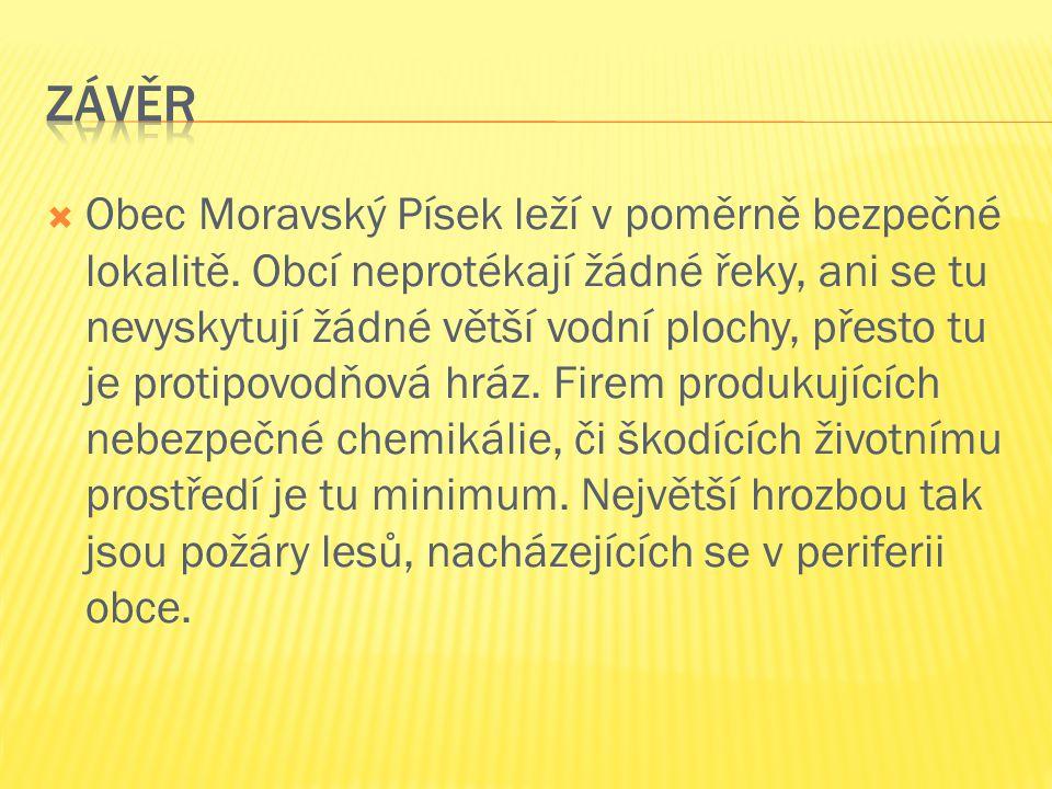  Obec Moravský Písek leží v poměrně bezpečné lokalitě. Obcí neprotékají žádné řeky, ani se tu nevyskytují žádné větší vodní plochy, přesto tu je prot