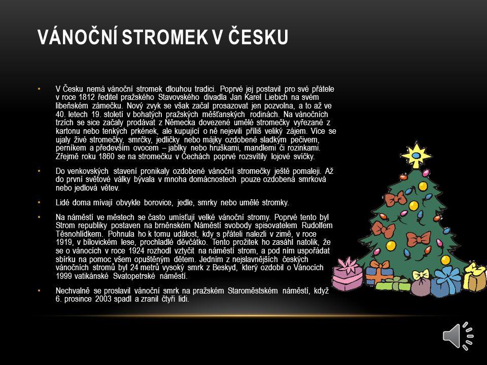 VÁNOČNÍ STROMEK V ČESKU V Česku nemá vánoční stromek dlouhou tradici.