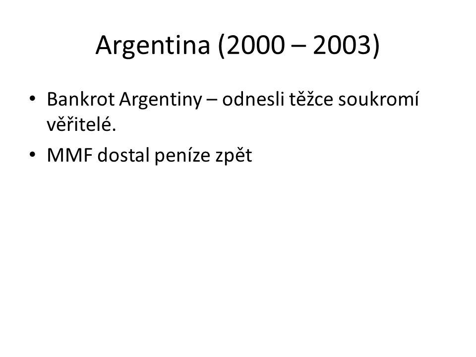Argentina (2000 – 2003) Bankrot Argentiny – odnesli těžce soukromí věřitelé. MMF dostal peníze zpět