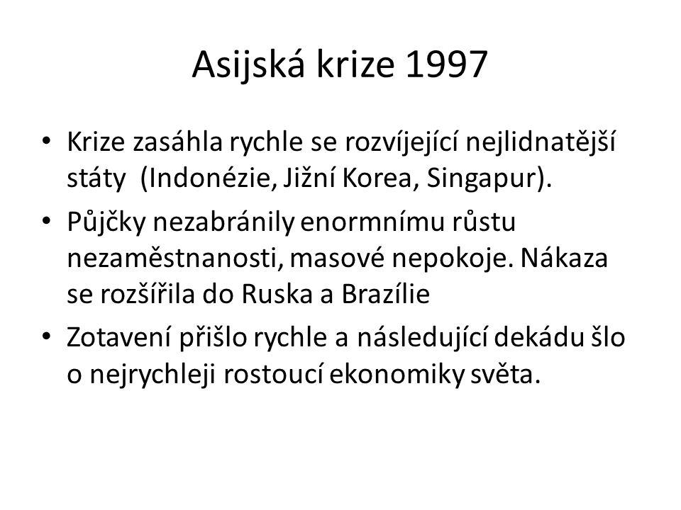 Asijská krize 1997 Krize zasáhla rychle se rozvíjející nejlidnatější státy (Indonézie, Jižní Korea, Singapur). Půjčky nezabránily enormnímu růstu neza