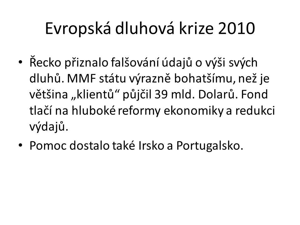 """Evropská dluhová krize 2010 Řecko přiznalo falšování údajů o výši svých dluhů. MMF státu výrazně bohatšímu, než je většina """"klientů"""" půjčil 39 mld. Do"""