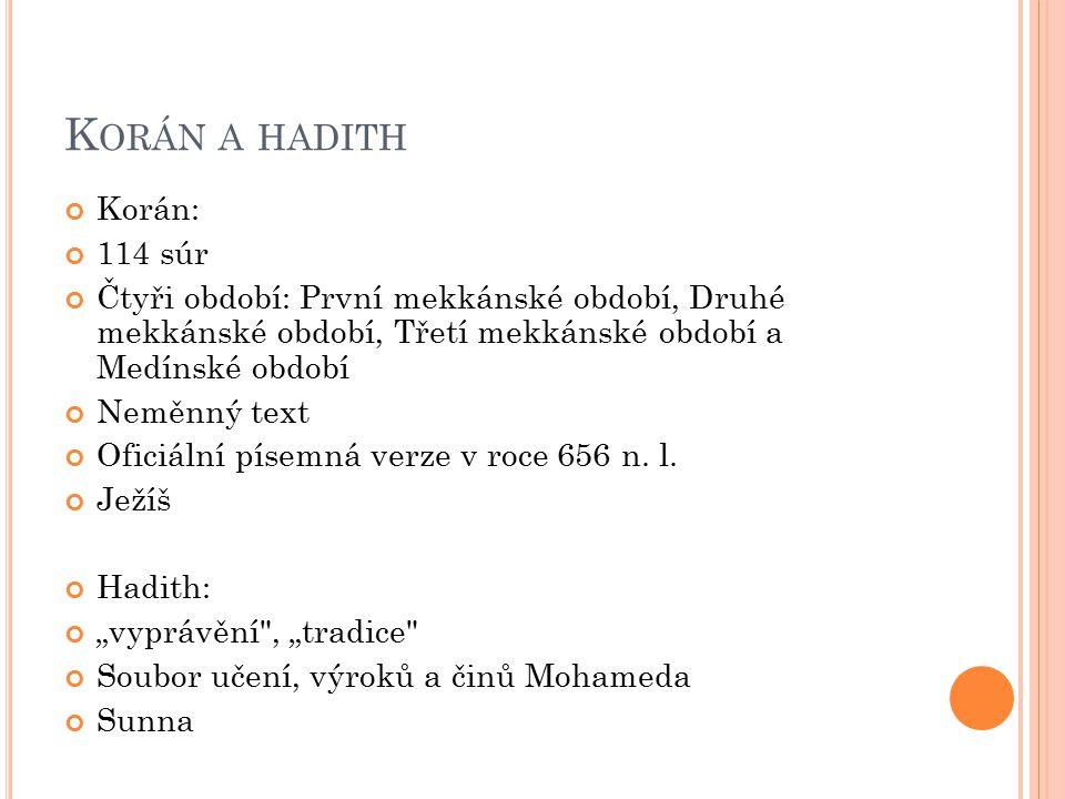 K ORÁN A HADITH Korán: 114 súr Čtyři období: První mekkánské období, Druhé mekkánské období, Třetí mekkánské období a Medínské období Neměnný text Ofi