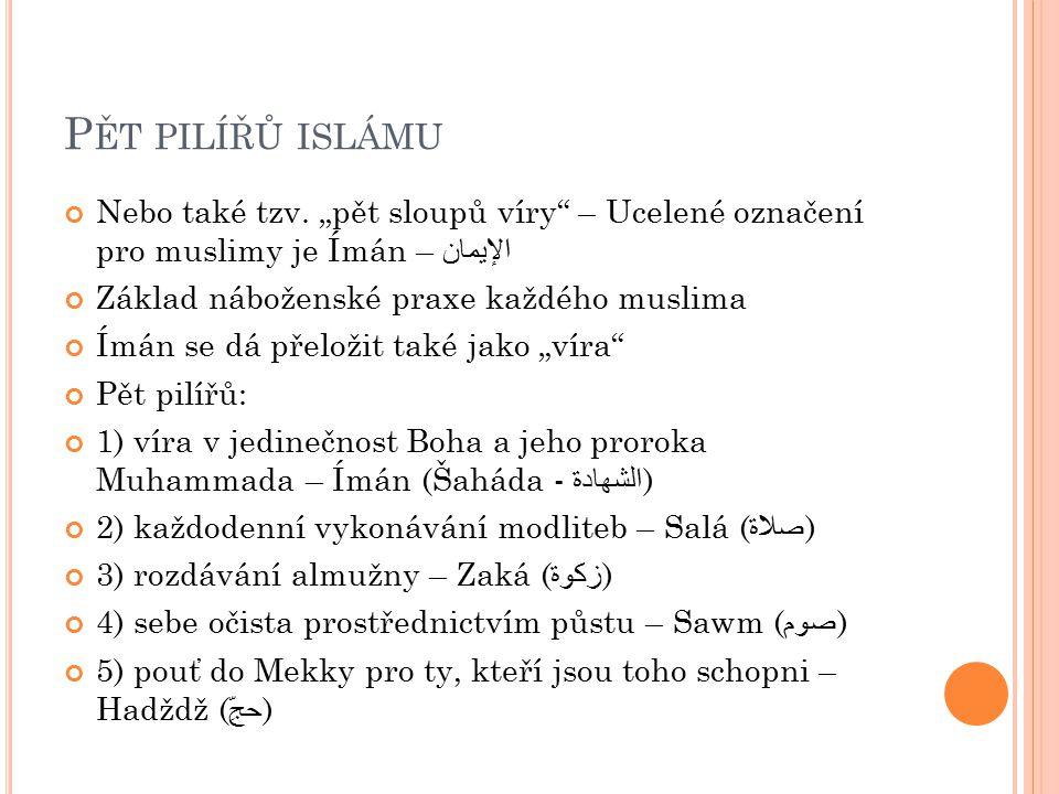 """P ĚT PILÍŘŮ ISLÁMU Nebo také tzv. """"pět sloupů víry"""" – Ucelené označení pro muslimy je Ímán – الإيمان Základ náboženské praxe každého muslima Ímán se d"""