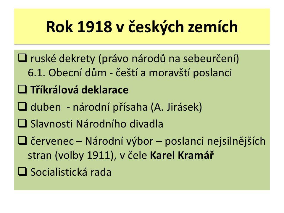 Rok 1918 v českých zemích  ruské dekrety (právo národů na sebeurčení) 6.1. Obecní dům - čeští a moravští poslanci  Tříkrálová deklarace  duben - ná