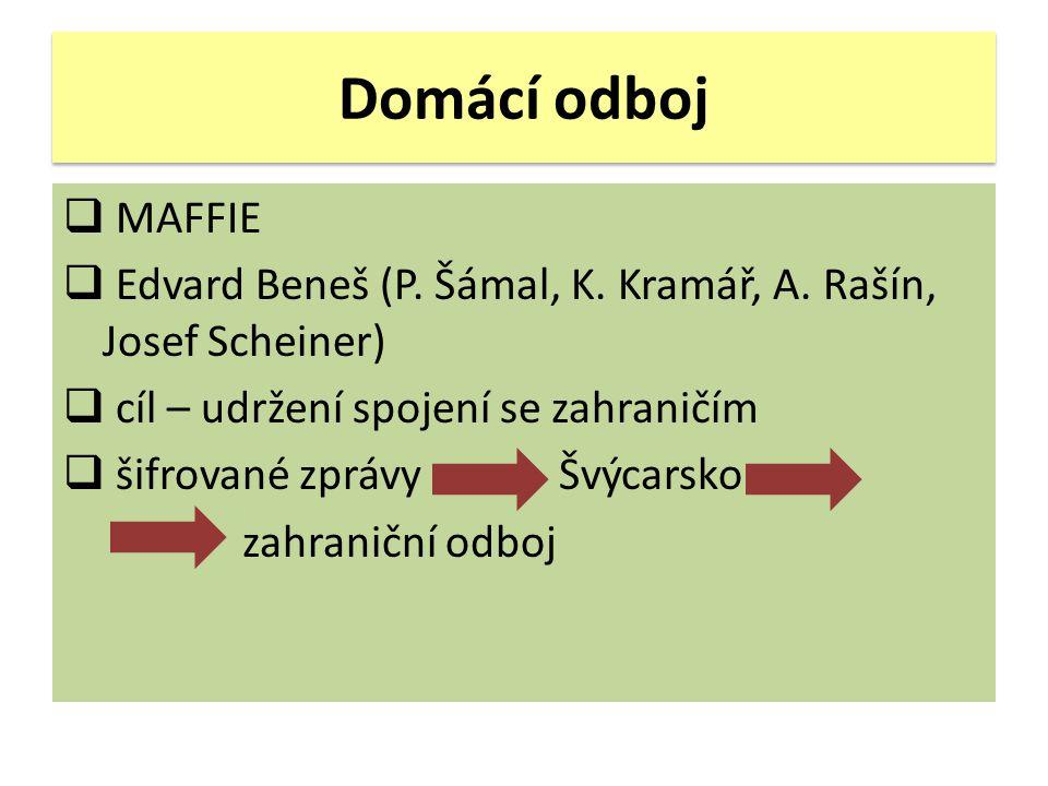 Domácí odboj  MAFFIE  Edvard Beneš (P. Šámal, K. Kramář, A. Rašín, Josef Scheiner)  cíl – udržení spojení se zahraničím  šifrované zprávy Švýcarsk
