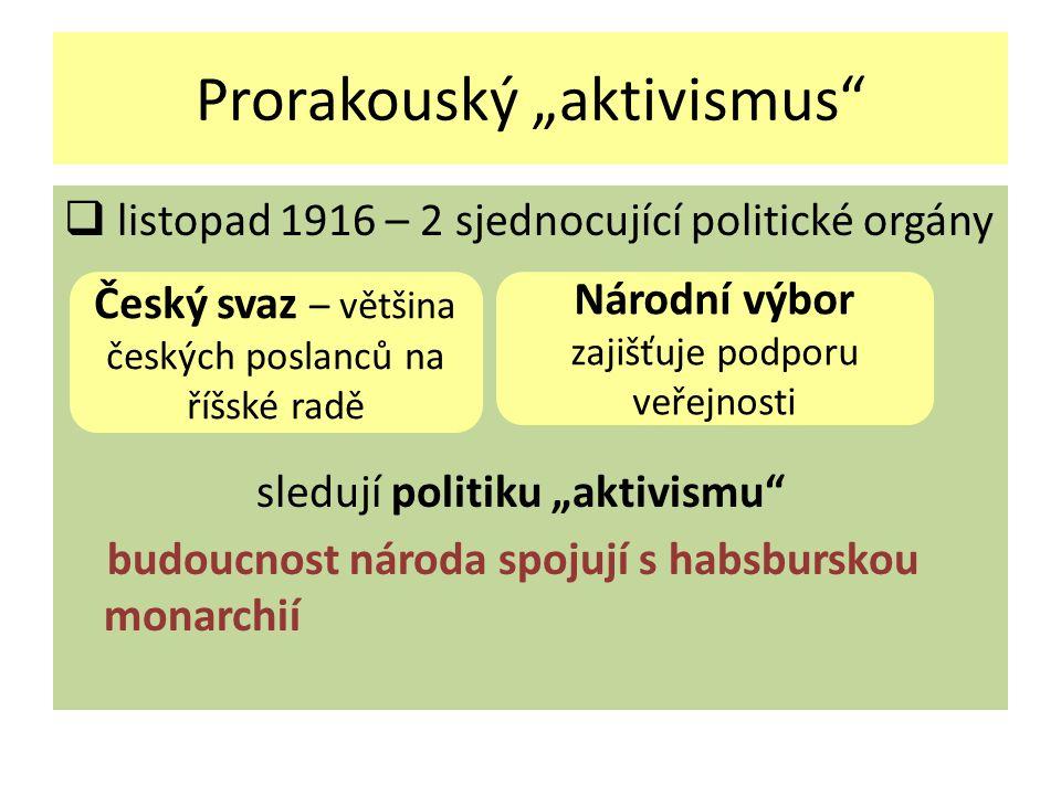 """Prorakouský """"aktivismus""""  listopad 1916 – 2 sjednocující politické orgány sledují politiku """"aktivismu"""" budoucnost národa spojují s habsburskou monarc"""