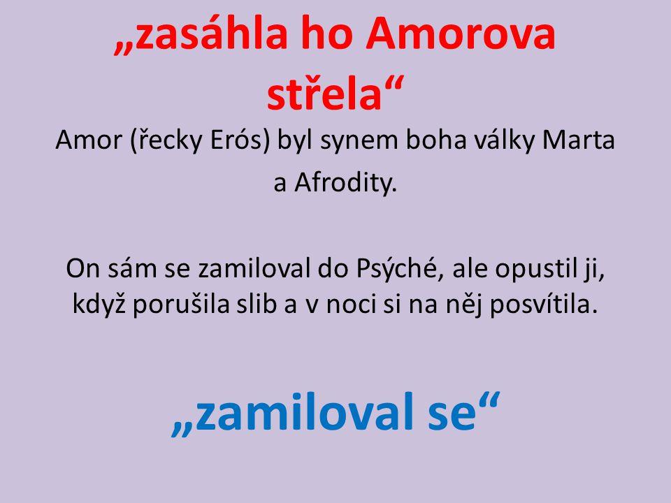 """""""zasáhla ho Amorova střela"""" Amor (řecky Erós) byl synem boha války Marta a Afrodity. On sám se zamiloval do Psýché, ale opustil ji, když porušila slib"""