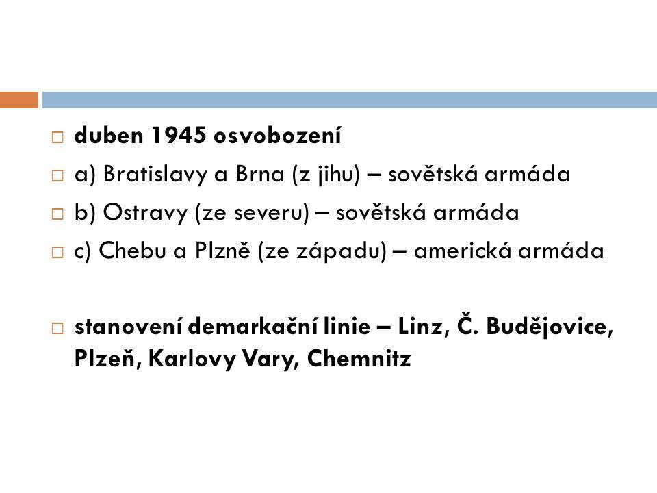  duben 1945 osvobození  a) Bratislavy a Brna (z jihu) – sovětská armáda  b) Ostravy (ze severu) – sovětská armáda  c) Chebu a Plzně (ze západu) – americká armáda  stanovení demarkační linie – Linz, Č.