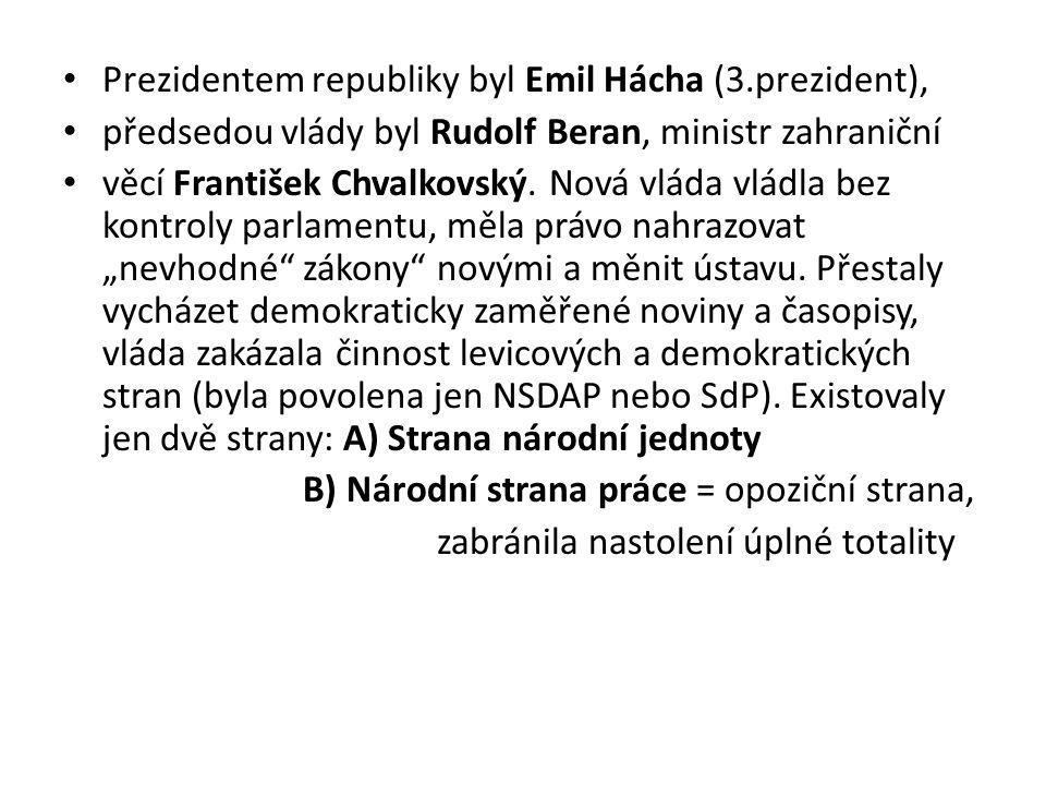Prezidentem republiky byl Emil Hácha (3.prezident), předsedou vlády byl Rudolf Beran, ministr zahraniční věcí František Chvalkovský. Nová vláda vládla