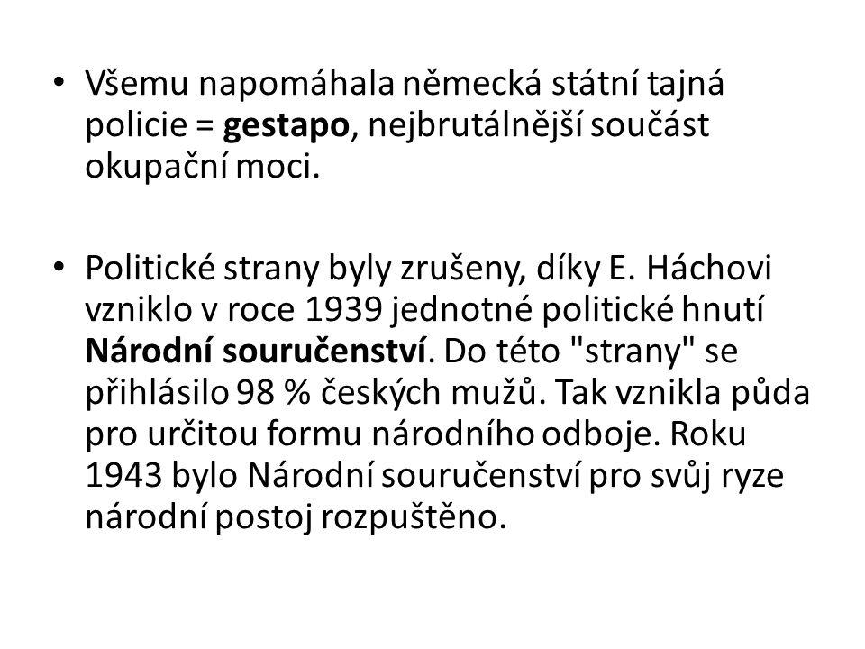 Všemu napomáhala německá státní tajná policie = gestapo, nejbrutálnější součást okupační moci. Politické strany byly zrušeny, díky E. Háchovi vzniklo