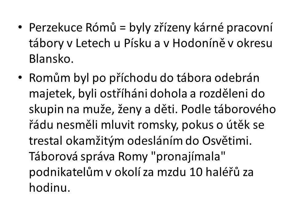 Perzekuce Rómů = byly zřízeny kárné pracovní tábory v Letech u Písku a v Hodoníně v okresu Blansko. Romům byl po příchodu do tábora odebrán majetek, b