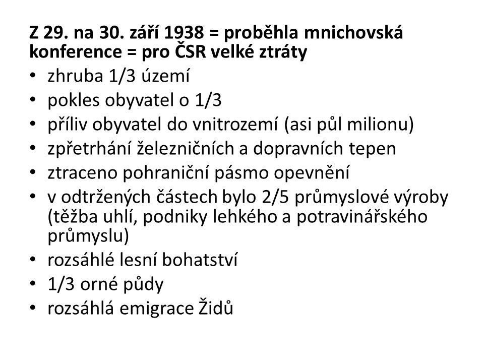 Z 29. na 30. září 1938 = proběhla mnichovská konference = pro ČSR velké ztráty zhruba 1/3 území pokles obyvatel o 1/3 příliv obyvatel do vnitrozemí (a