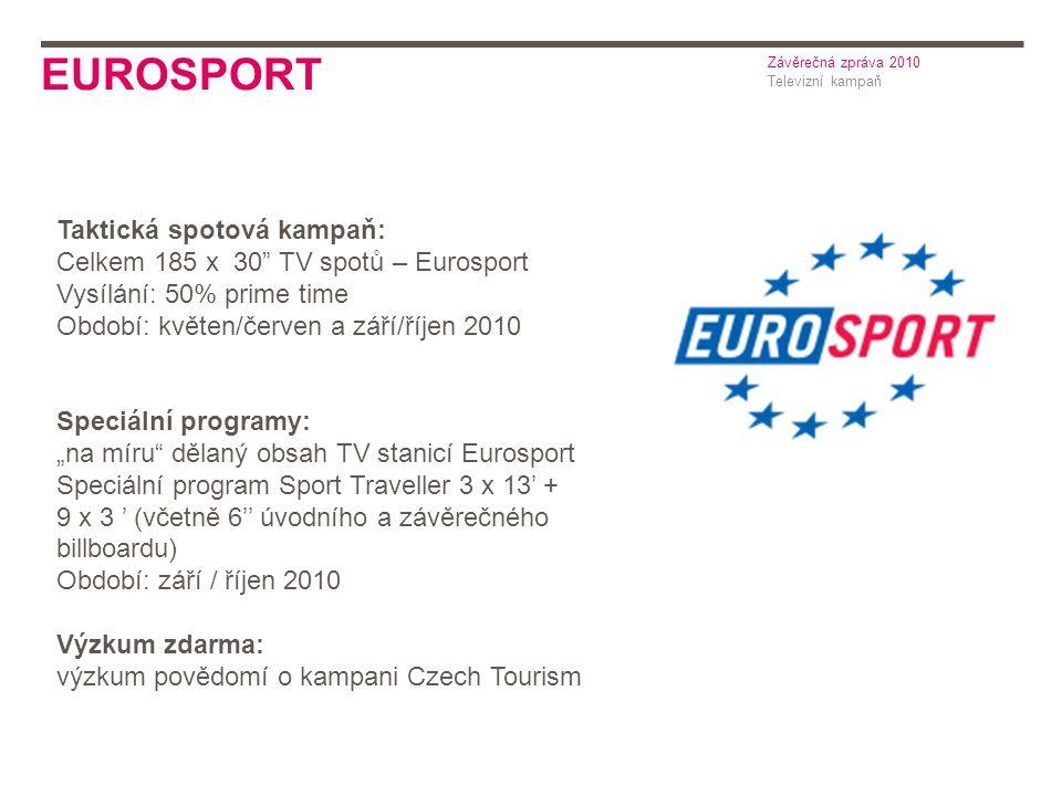 """EUROSPORT Televizní kampaň Závěrečná zpráva 2010 Taktická spotová kampaň: Celkem 185 x 30 TV spotů – Eurosport Vysílání: 50% prime time Období: květen/červen a září/říjen 2010 Speciální programy: """"na míru dělaný obsah TV stanicí Eurosport Speciální program Sport Traveller 3 x 13' + 9 x 3 ' (včetně 6'' úvodního a závěrečného billboardu) Období: září / říjen 2010 Výzkum zdarma: výzkum povědomí o kampani Czech Tourism"""