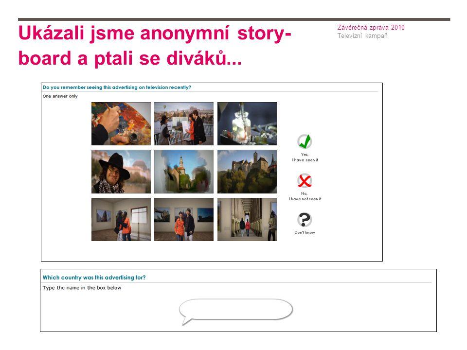 Ukázali jsme anonymní story- board a ptali se diváků... Televizní kampaň Závěrečná zpráva 2010