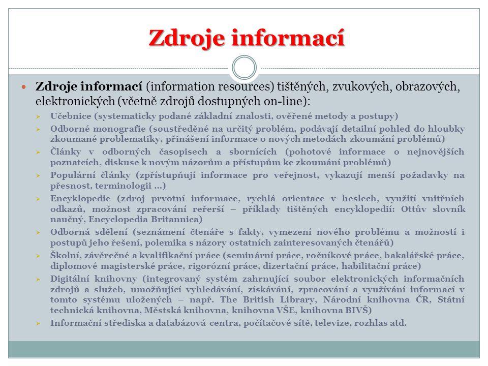 Zdroje informací Zdroje informací Zdroje informací (information resources) tištěných, zvukových, obrazových, elektronických (včetně zdrojů dostupných