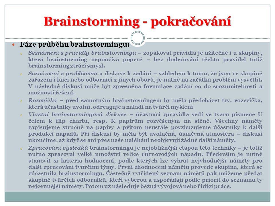 Brainstorming - pokračování Fáze průběhu brainstormingu: o Seznámení s pravidly brainstormingu – zopakovat pravidla je užitečné i u skupiny, která brainstorming nepoužívá poprvé – bez dodržování těchto pravidel totiž brainstorming ztrácí smysl.