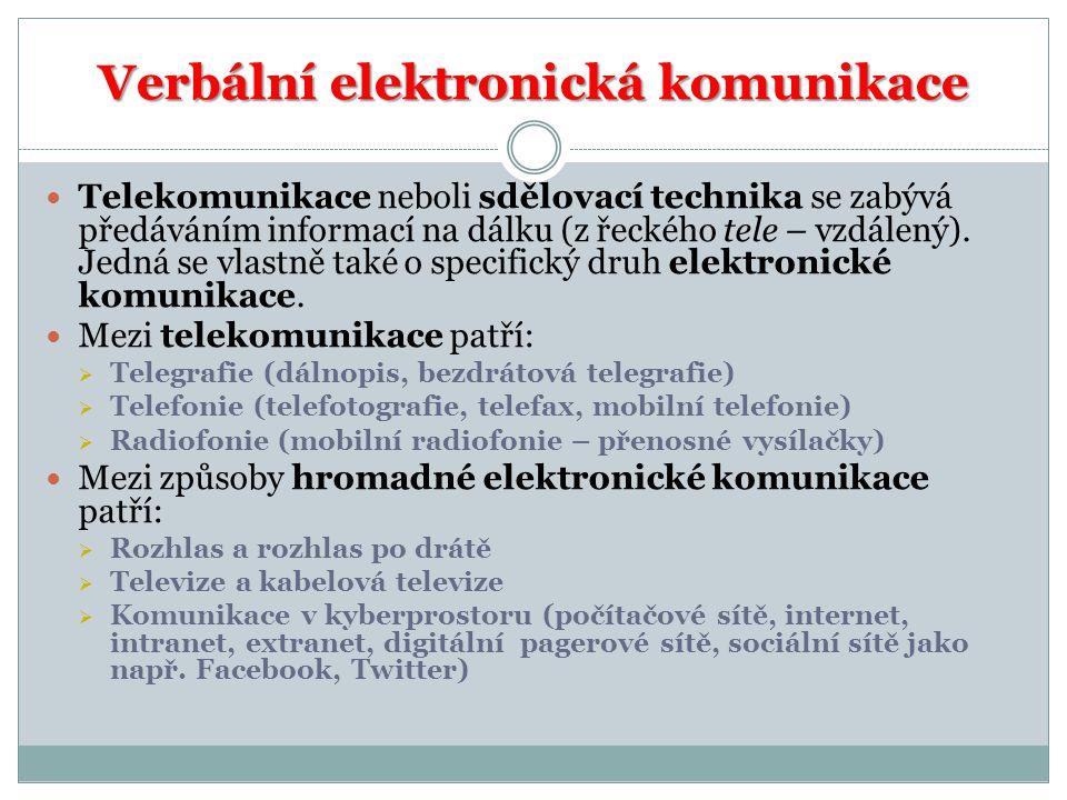 Verbální elektronická komunikace Telekomunikace neboli sdělovací technika se zabývá předáváním informací na dálku (z řeckého tele – vzdálený). Jedná s