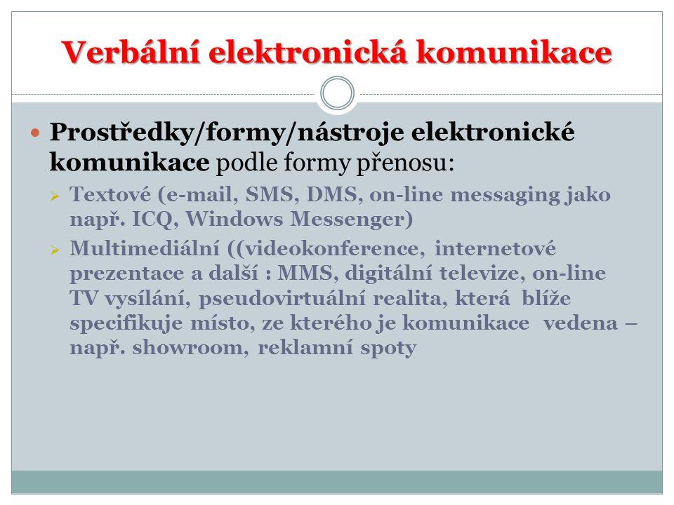 Verbální elektronická komunikace Prostředky/formy/nástroje elektronické komunikace podle formy přenosu:  Textové (e-mail, SMS, DMS, on-line messaging jako např.
