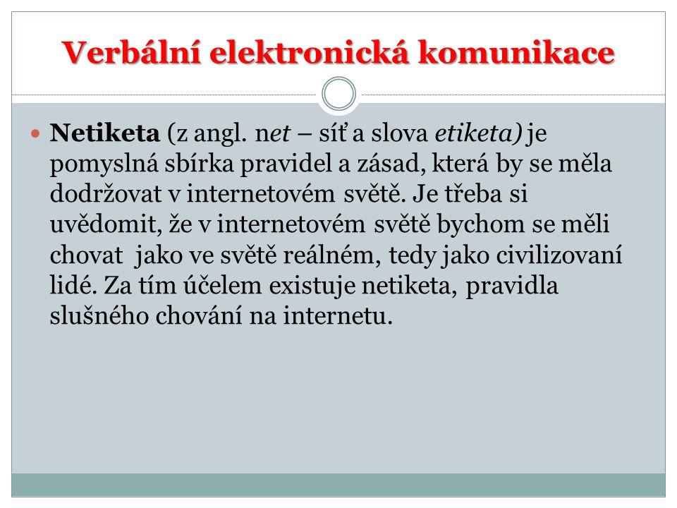 Verbální elektronická komunikace Netiketa (z angl.