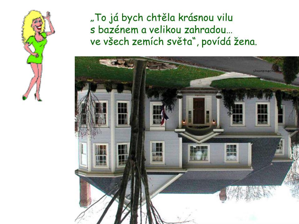 """""""To já bych chtěla krásnou vilu s bazénem a velikou zahradou… ve všech zemích světa , povídá žena."""
