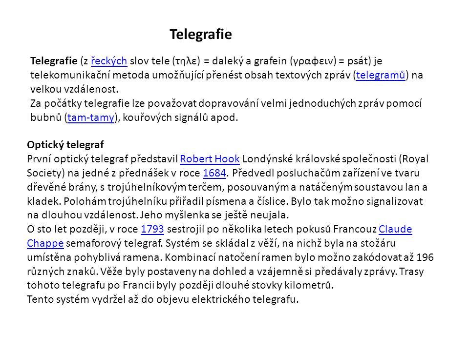 Telegrafie Telegrafie (z řeckých slov tele (τηλε) = daleký a grafein (γραφειν) = psát) je telekomunikační metoda umožňující přenést obsah textových zp